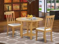 3 Piece Sudbury Set With One Round Dinette Table And Two Dinette Chairs With Faux Leather Seat In A Beautiful Oak Finish.