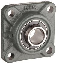 "NTN UCF218-308D1 Light Duty Flange Bearing, 4 Bolts, Setscrew Lock, Regreasable, Contact and Flinger Seals, Cast Iron, 3-1/2"" Bore, 6-23/64"" Bolt Hole Spacing Width, 9-1/4"" Height, 16100lbf Static Load Capacity, 21600lbf Dynamic Load Capacity"