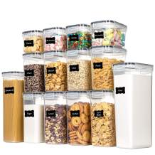 Chefstory Airtight Food Storage Containers Set, 14 PCS Kitchen Storage Containers with Lids for Flour, Sugar and Cereal, Plastic Dry Food Canisters for Pantry Organization and Storage