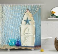"Ambesonne Nautical Shower Curtain, Sea Objects on Wooden Backdrop with Vintage Boat Starfish Shell Fishing Net Photo, Cloth Fabric Bathroom Decor Set with Hooks, 70"" Long, Blue Cream"