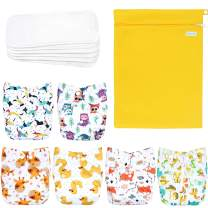 Wegreeco Washable Reusable Baby Cloth Pocket Diapers 6 Pack + 6 Bamboo Inserts (with 1 Wet Bag, Bright Animals)