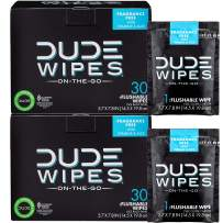 DUDE Wipes Flushable Wet Wipes (2 Packs, 30 Wipes Each) Individually Wrapped for Travel, Unscented Wet Wipes with Vitamin-E & Aloe, Septic and Sewer Safe