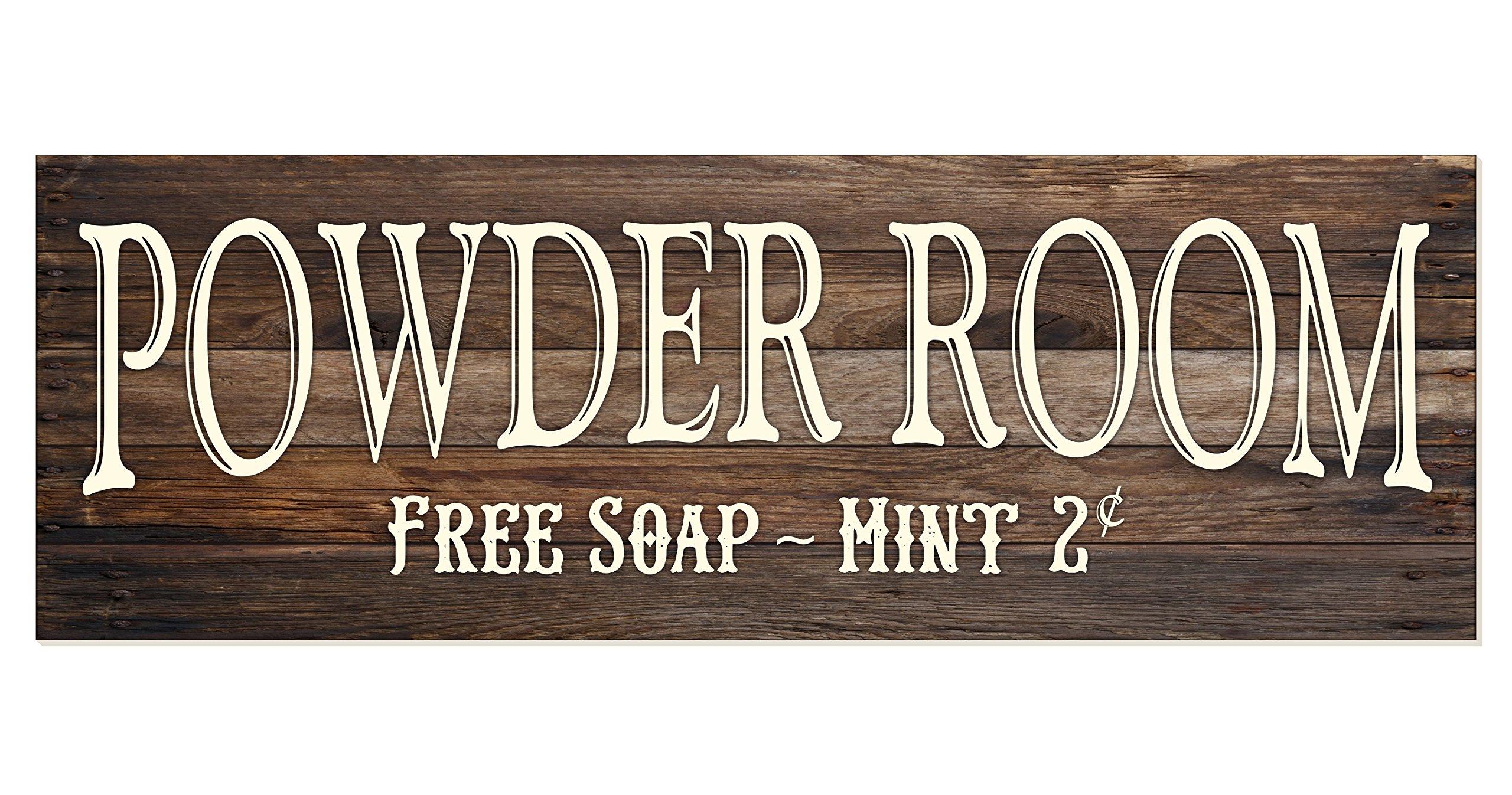 Powder Room Rustic Wood Wall Sign 6x18 (Brown)