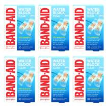 Band-Aid Brand Water Block Clear Waterproof Sterile Adhesive Bandages for First-Aid Wound Care of Minor Cuts and Scrapes, Assorted Sizes, 30 ct (Pack of 6)