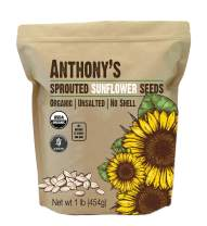 Anthony's Organic Sprouted Sunflower Seeds, 1 lb, Batch Tested Gluten Free, Keto & Paleo Friendly, Unsalted, No Shell