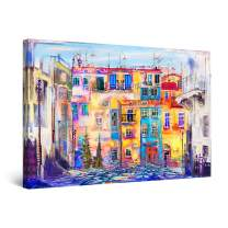 """Startonight Canvas Wall Art Abstract - Street in Florence, Italy Painting - Large Framed 32"""" x 48"""""""