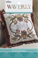 Bucilla Stamped Embroidery Monogram Decorative Pillow Kit, Charleston Chirp
