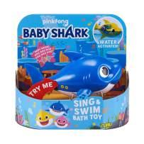 Robo Alive Junior Baby Shark Battery-Powered Sing and Swim Bath Toy by ZURU - Daddy Shark (Blue) (Custom Packaging)