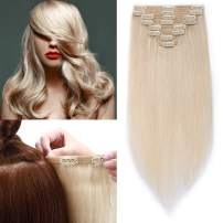 """S-noilite Thicken Long Soft Clip in Human Hair Extensions Double Weft 8pcs 150grams/pack for Full Head 20"""" 100% Real Clips Human Hair Extension #70 Bleach White"""