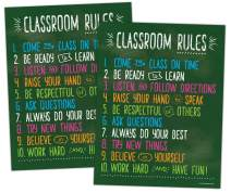 2 Pack: Classroom Rules - Class Rules Poster for Middle School - Classroom Expectations Poster - Posters for High School Classroom - Laminated - 17 x 22 inches
