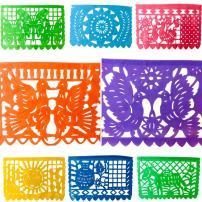 TexMex Fun Stuff Mexican Fiesta Paper Papel Picado Banner- Classic Party Garland, 10 Panels