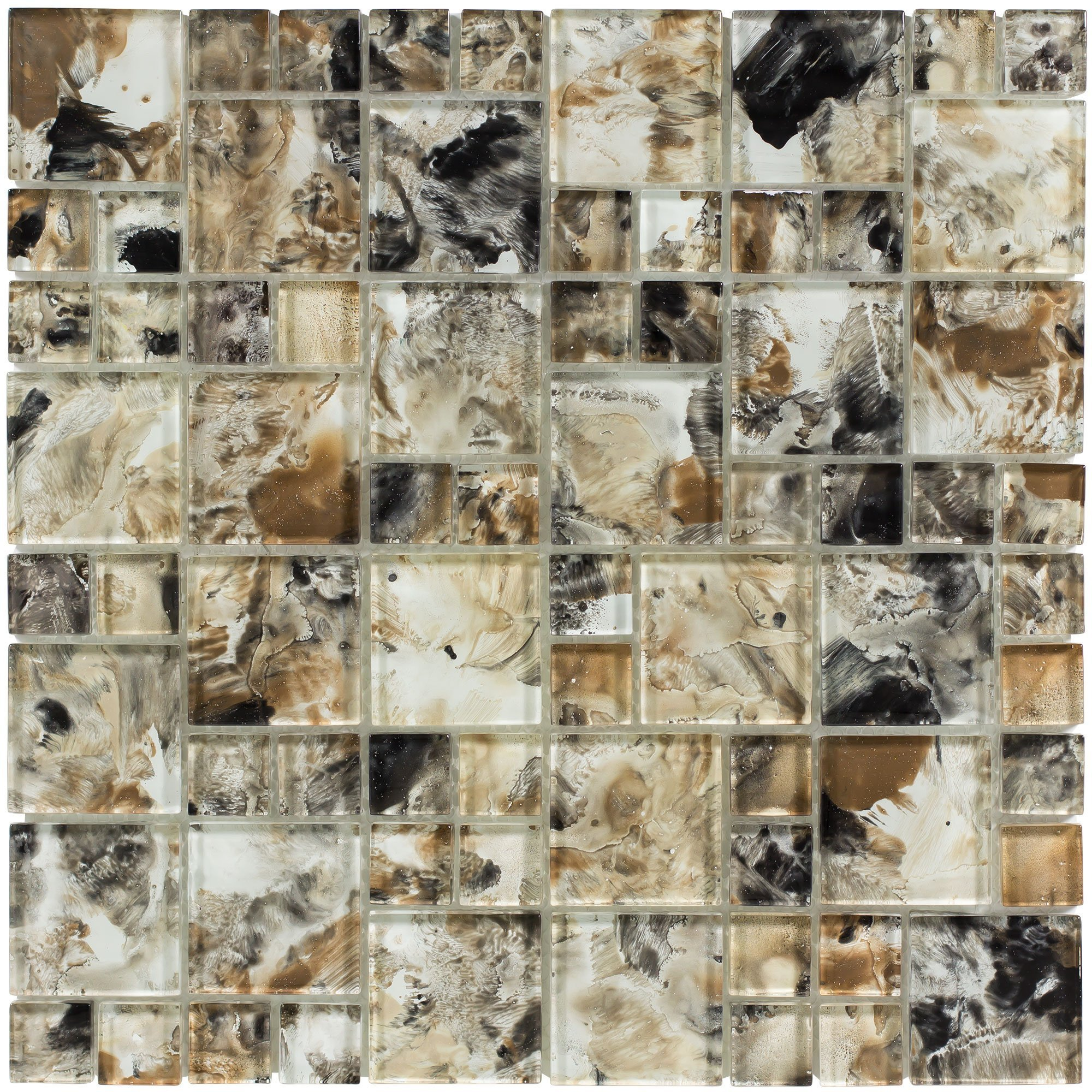 MTO0111   Modern French Pattern Brown Glossy Glass Mosaic Tile