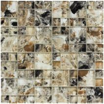 MTO0111 | Modern French Pattern Brown Glossy Glass Mosaic Tile