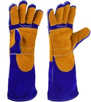 NKTM Leather Welding Gloves EXTREME HEAT RESISTANT & WEAR RESISTANT - For Tig Welders/Mig/Fireplace/Stove/BBQ/Gardening, Blue - 16In
