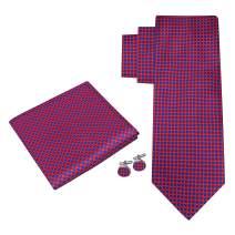 Twenty Dollar Tie Men's Duke Check Tie Pocket Square Cuff-links Set