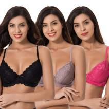Curve Muse Semi-Sheer Balconette Underwire Lace Bra and Scalloped Hems (3 Pack)