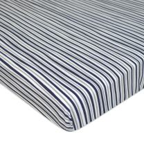TL Care Printed 100% Natural Cotton Jersey Knit Fitted Portable/Mini-Crib Sheet, Navy/Grey Funny Stripes, Soft Breathable, for Boys