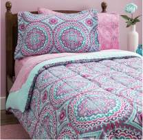Design Studio Thalia 8-Piece Bag, Comforter with Sheets Medallion, Bohemian, Boho Chic, Microfiber, Teen, Girls, Bedding,Full, Twin Size, Purple/Aqua