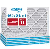 "Aerostar Allergen & Pet Dander 16 3/8x21 1/2x1 MERV 11 Pleated Air Filter, Made in the USA, (Actual Size: 16 3/8""x21 1/2""x3/4""), 6-Pack"