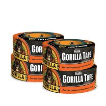 "Gorilla Black Duct Tape, 1.88"" x 12 yd, Black, (Pack of 4)"