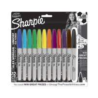 Sharpie Permanent Markers, Fine Point, Alex Morgan Special Edition, Assorted Colors, 12 Count