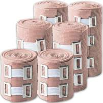 Elastic Bandage Wrap Multi Purpose: 6 Compression Wraps of 3 Different Sizes Very Easy to Use with Hook & Loop Closure. Latex-Free, Stretches up to 15ft & Includes Extra Clip