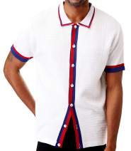 Men's Short Sleeve Knit Sports Shirt - Modern Polo Vintage Classics: Solid Geometric Jacquard with Color Tipping