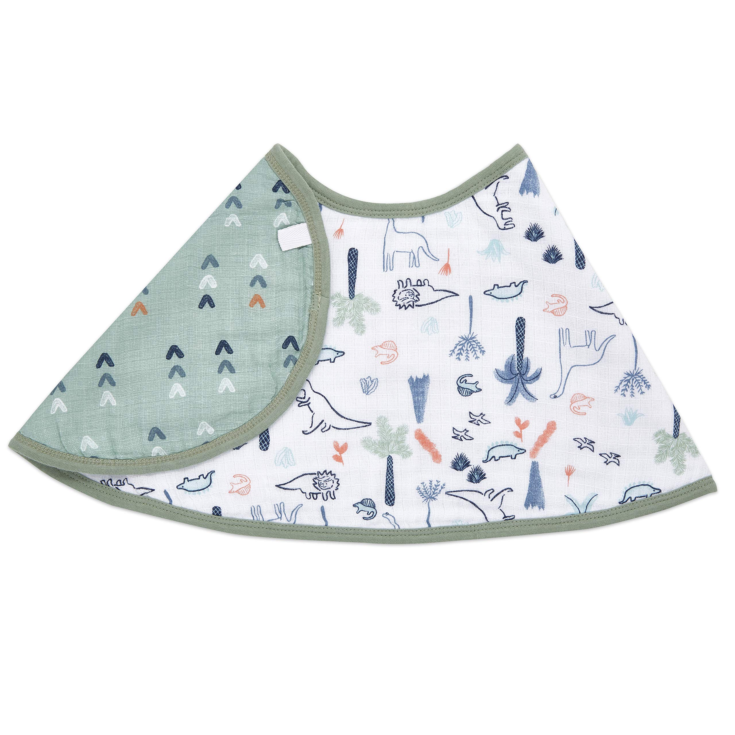 "aden + anais Burpy Baby Bib, 100% Cotton Muslin, Soft Absorbent 4 Layers, Multi-Use Burp Cloth and Bib, 22.5"" X 11"", Single, Dino Time"