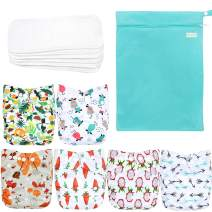 Wegreeco Washable Reusable Baby Cloth Pocket Diapers 6 Pack + 6 Bamboo Inserts (with 1 Wet Bag, Fruits, Animals)