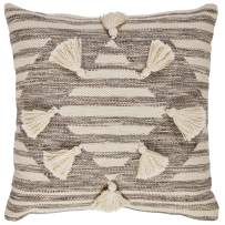 Amazon Brand – Stone & Beam Modern Tassel Diamond Throw Pillow - 18 x 18 Inch, Black / White