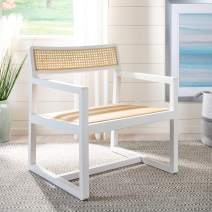Safavieh Home Lula Coastal White and Natural Cane Accent Chair