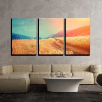 """wall26 - 3 Piece Canvas Wall Art - Fantastic Foggy River with Fresh Grass in The Sunlight. Dramatic Unusual Scene - Modern Home Decor Stretched and Framed Ready to Hang - 24""""x36""""x3 Panels"""