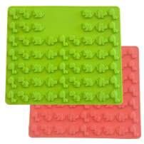 Set of 2 Mini Dinosaur Silicone Candy molds and Gummy Bear Mold, Non-Stick Gummies Chocolate Gelatin Tray –Makes 114 Gummies (Red-Green (2Pack)