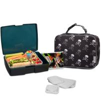 Bentology Lunch Bag and Box Set for Kids - Boys Insulated Lunchbox Tote, Bento Box, 5 Containers and Ice Pack - 9 Pieces - Pirate Skulls