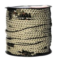 Mandala Crafts Flat Sequin Strip Trim on Strings for Crafts, Fringe, and Sewing; Beige 6mm 100 Yard Roll