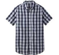 KingSize Men's Big & Tall Short-Sleeve Sport Shirt - Big - 2XL, Navy Check