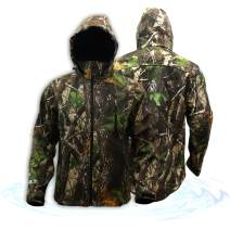 KwikSafety Huntsman Camouflage Hunting Jacket   Water Resistant Quick Dry Long Sleeve Soft Shell Hoodie   Men Women Fishing Shooting Camo Gear   Large