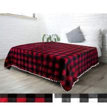 PAVILIA Fleece Throw Blanket with Pom Pom Fringe   Buffalo Plaid Checkered Red, Black Flannel Throw   Super Soft Lightweight Microfiber Polyester   Plush, Fuzzy, Cozy   60 x 80 Inches