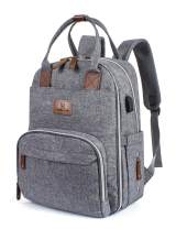 H HIKKER-LINK Baby Diaper Bag Backpack for Mom and Dad Baby Organizer Gray