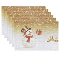 homing Christmas Placemats for Dining Table Set of 6 - Woven Vinyl Plastic Heat-Resistant Kitchen Table Mats Washable, Easy to Clean PVC Place Mats, 18 x 12 in, Snowman