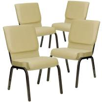 Flash Furniture 4 Pk. HERCULES Series 18.5''W Stacking Church Chair in Beige Patterned Fabric - Gold Vein Frame