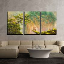 """wall26 - 3 Piece Canvas Wall Art - Painting of Deer on The Edge of a Cliff in a Mountain Forest on Canvas - Modern Home Decor Stretched and Framed Ready to Hang - 16""""x24""""x3 Panels"""