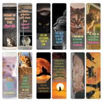 Creanoso Pet Cats Quote Bookmarks (12-Pack) – Stocking Stuffers Gift for Pet Owners, Men, Women, Adult, Teens – Party Favors Supplies – Book Reading Rewards Gifts – Great Giveaways for Cat Lovers