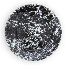 Enamelware Flat Salad Plate, 8 inch, Black/White Splatter (Single)