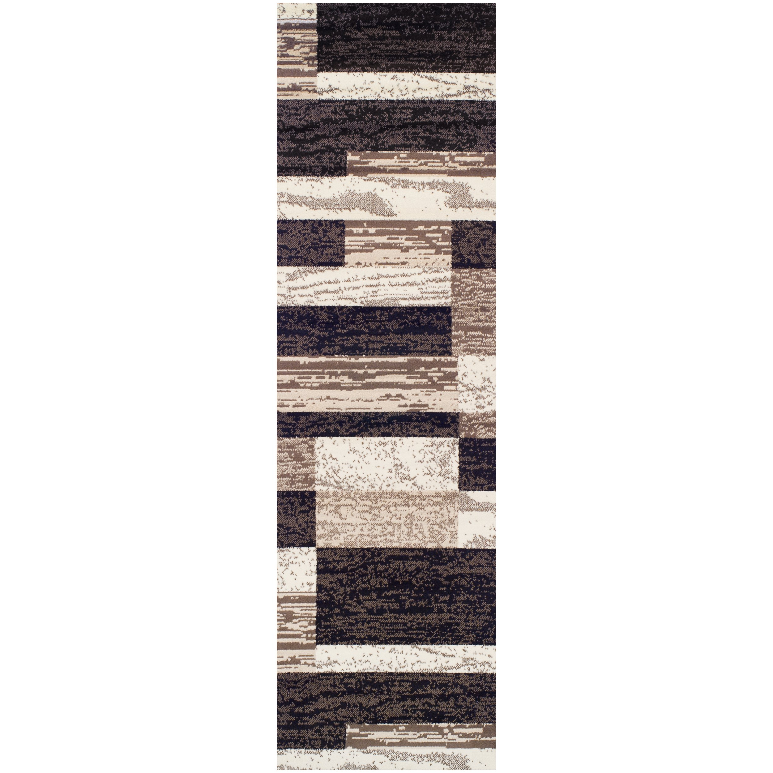 """Superior Modern Rockwood Collection Area Rug, 8mm Pile Height with Jute Backing, Textured Geometric Brick Design, Anti-Static, Water-Repellent Rugs - Chocolate, 2'7"""" x 8' Runner"""