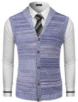 COOFANDY Men's Sweater Vest Slim Fit Shawl Collar Knitted Zip Button Up Cardigan Sweater