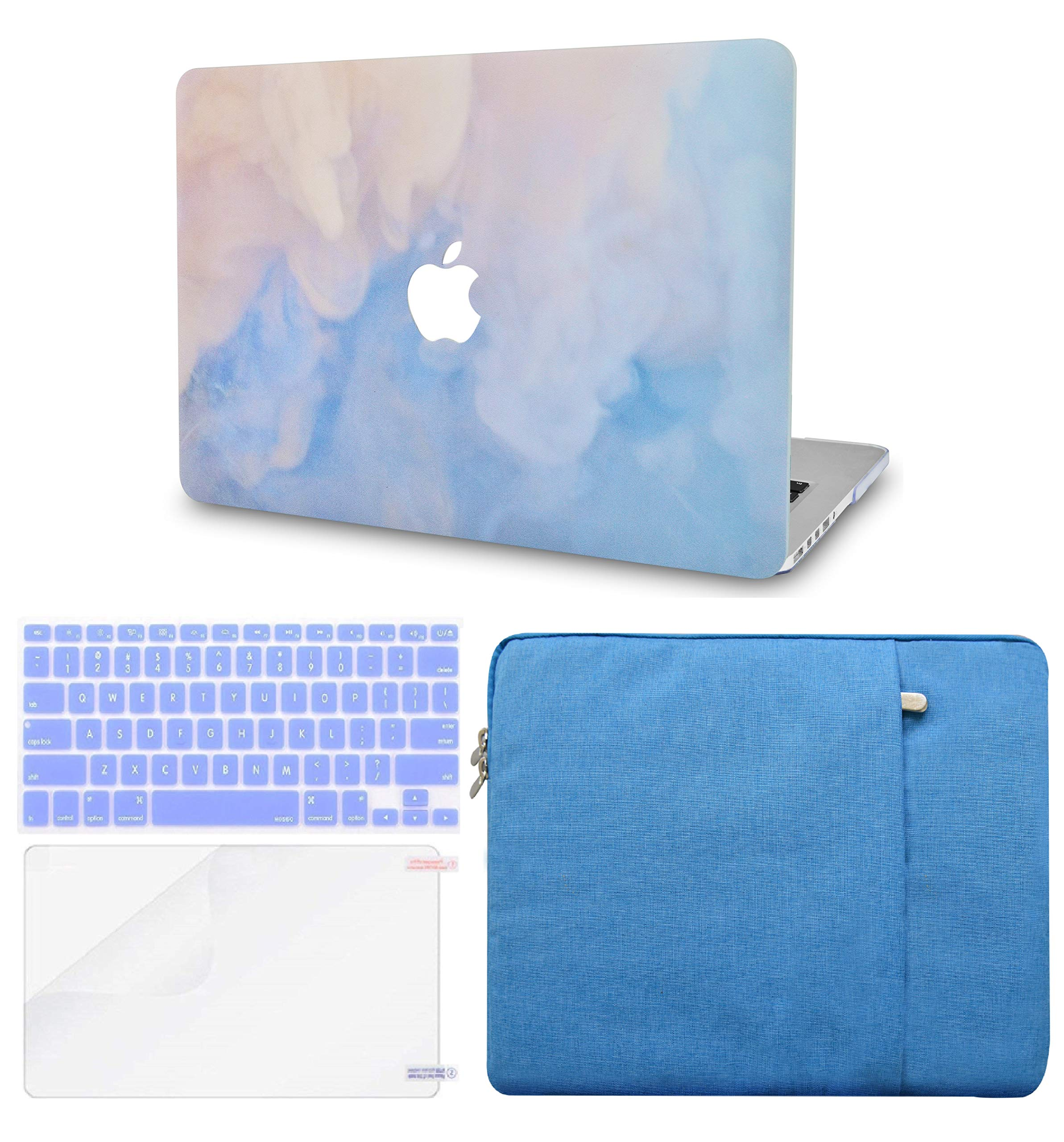 LuvCase 4in1 LaptopCase for MacBook Air 13 Inch(2020/2019/2018) A2179/A1932 Retina Display (Touch ID)HardShellCover, Sleeve, Keyboard Cover & Screen Protector (Blue Mist)