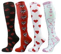 4 Pair Medium/Large Extra Soft Premium Quality Colorful Moderate/Medium Graduated Compression Socks 15-20 mmHg. Nurses, Running, Travel, Knee-High, Mens & Womens Comfort Blend. Fun Romantic Designs
