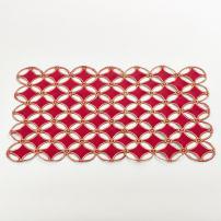 "Saro LifeStyle Buche de Noel Collection Cutwork Design Table Décor, Red, 14"" x 20"""
