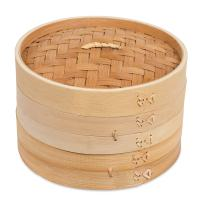 BirdRock Home 8 Inch Bamboo Steamer for Cooking Vegetables and Dumplings - Classic Traditional 2 Tier Design - Healthy Food Prep - Great for Dim Sum, Chicken, Fish, Veggies - Steam Basket - Natural